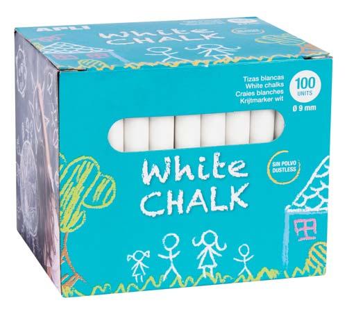 Tizas antipolvo blancas caja 100 ud