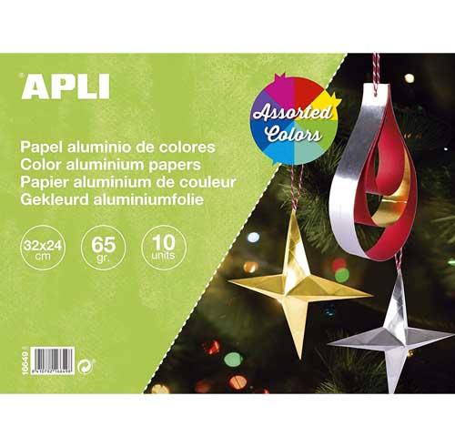 Bloc papel aluminio colores 10 hojas 65 gr