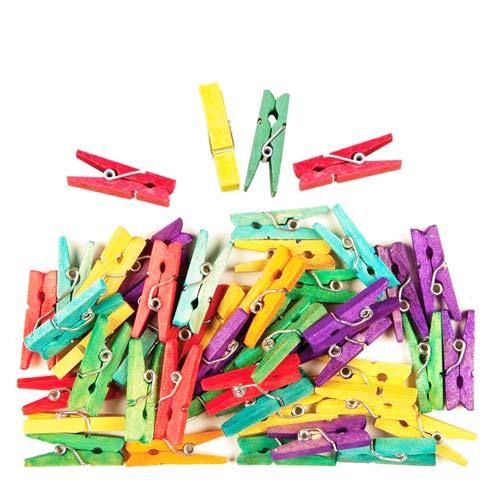 Mini pinzas de madera colores surtidos 25 x 3 mm 450 ud