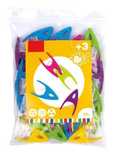 Pinzas de plástico Surtido de colores 30 ud detalle 1