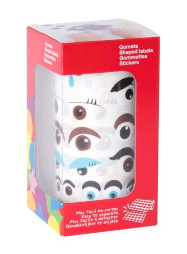 Gomets rollo ojos multicolor varios tamaños