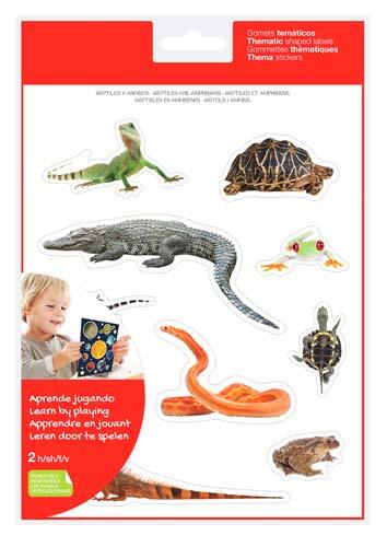 Gomets realistas reptiles y anfibios 2 hojas