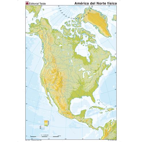 Mapa Mudo América del Norte Físico