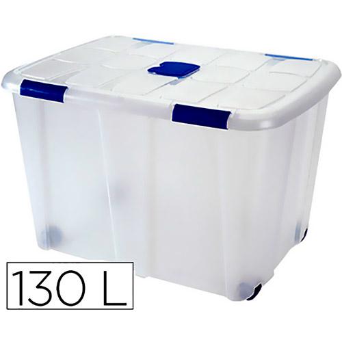 Contenedor 130 litros transparente con tapa