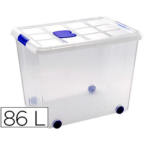 Contenedor 86 litros transparente con tapa