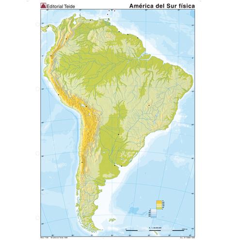 Mapa Mudo América del Sur Físico