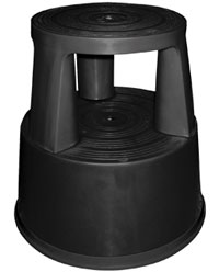 Taburete ruedas retráctiles negro