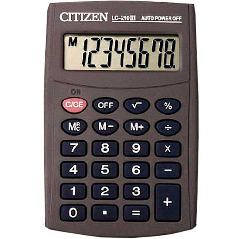 Calculadora de bolsillo Citizen LC210 8 digitos
