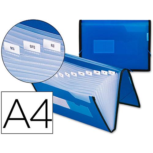 Clasificador fuelle polipropileno A4 azul 13 dep.