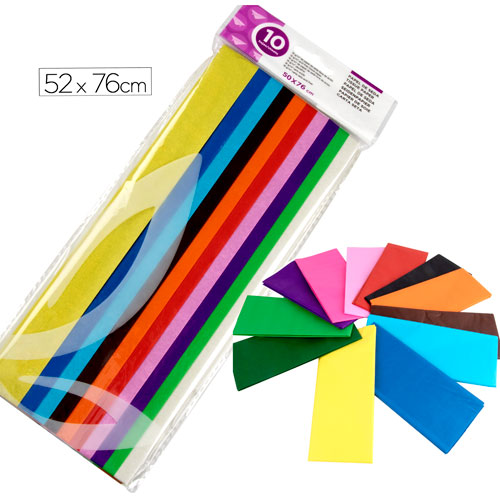 Pack Papel Seda 76 x 50 cm 10 colores