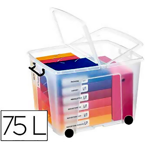 Contenedor 75 litros transparente con tapa