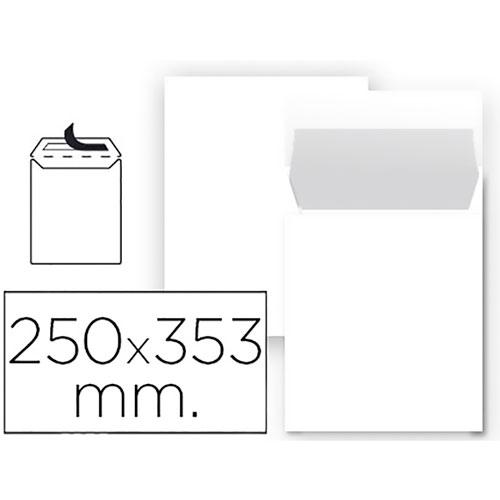 Sobre blanco 250 x 353 mm cierre silicona 25 ud