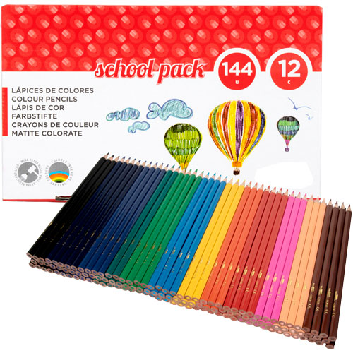 School Pack lapices 12 colores 144 ud