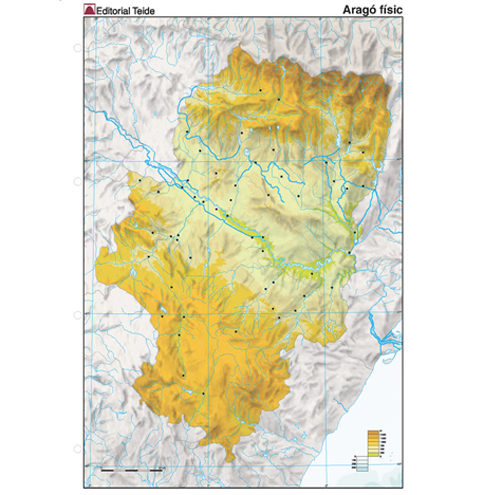 Mapa Mudo Aragón Físico detalle 1