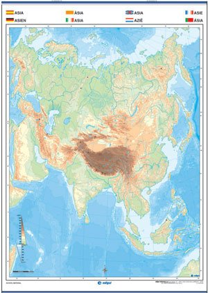Mapa Asia mudo reverso
