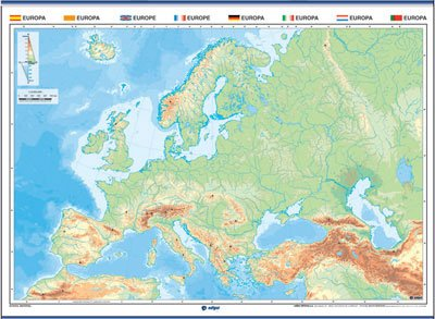 Mapa mudo europa color físico / político