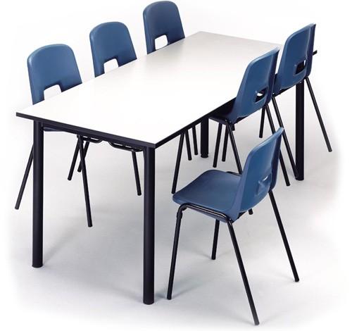 Mesa colectiva escolar 140 x 80 cm Talla 2 tablero crema estructura verde