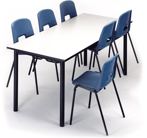 Mesa colectiva escolar 180 x 80 cm Talla 2 tablero crema estructura negra
