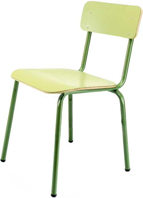 Silla escolar infantil asiento 30 cm alto verde