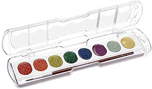Acuarelas 8 pastillas glitter 30 mm