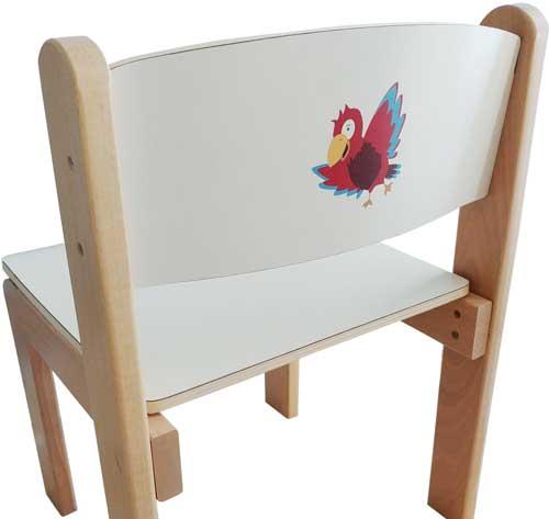 Silla infantil decorada asiento 26 cm alto detalle 1