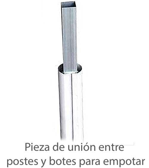 Postes voley fijos aluminio s.redonda 2d detalle 4