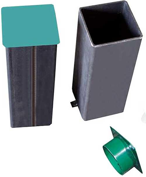 Postes voley fijos aluminio cuadrados 2 ud detalle 3