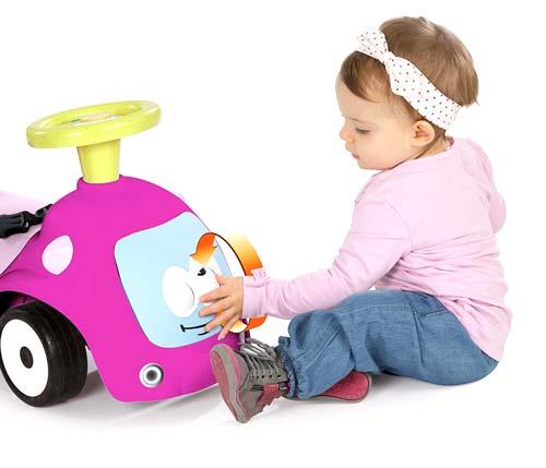 Correpasillos andador balancín coche rosa detalle 3