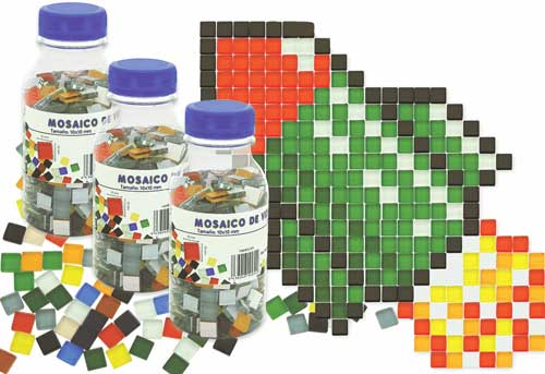 Botella 400 gr Mosaicos vidrio 10 x 10 mm