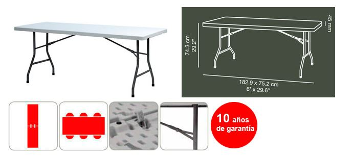 Mesa zoom plegable xl180 183x76x74 cm