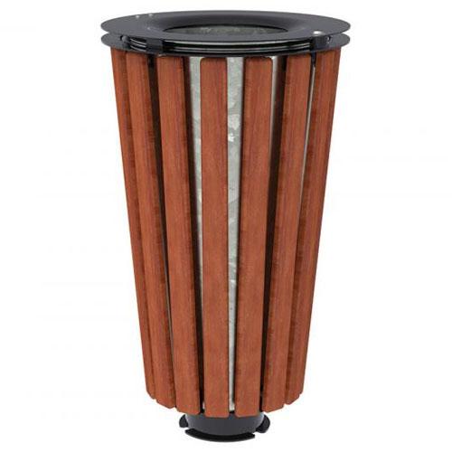 Papelera Loft Acero y Madera 80 litros con cubo