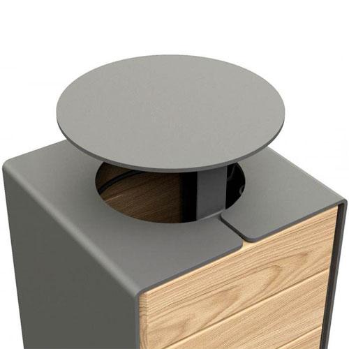 Papelera Rig acero y madera 120 litros con tapa detalle 4