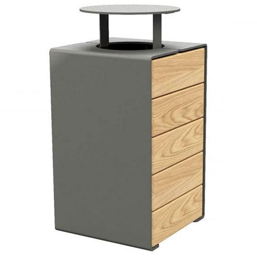 Papelera Rig acero y madera 120 litros con tapa
