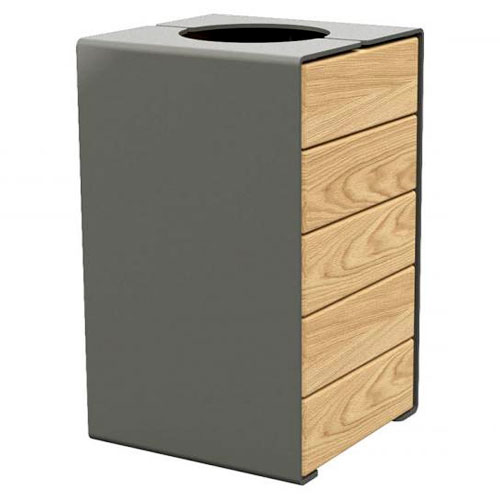 Papelera Rig acero y madera 120 litros