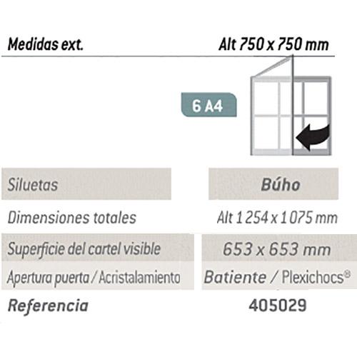 6. Vitrina inf. Buho 75 x 75 cm - 6 A4 detalle 2