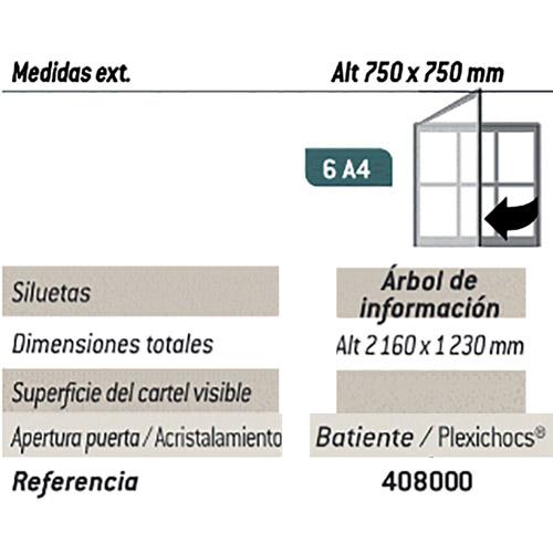 Vitrina inf. Árbol 93 x 93 cm - 6 A4 Poste detalle 1