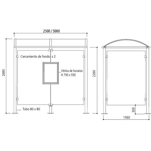 Marquesina VEDA 250 cm con vitrina + 1 lateral detalle 1