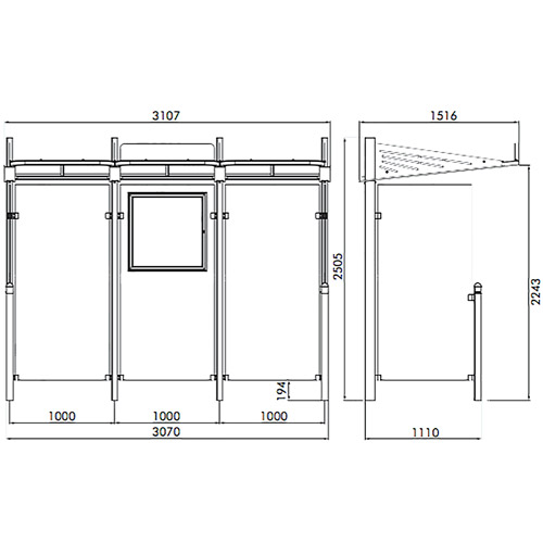 Marquesina VIALE 300 cm con 2 laterales detalle 1