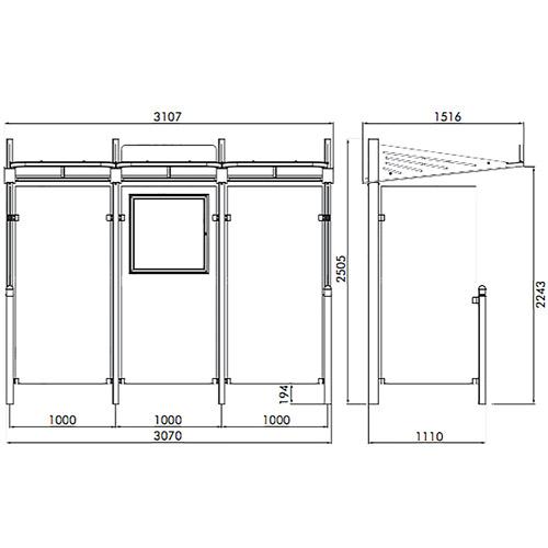 Mini Marquesina VIALE 300 cm 1 cerramiento lateral derecho detalle 2