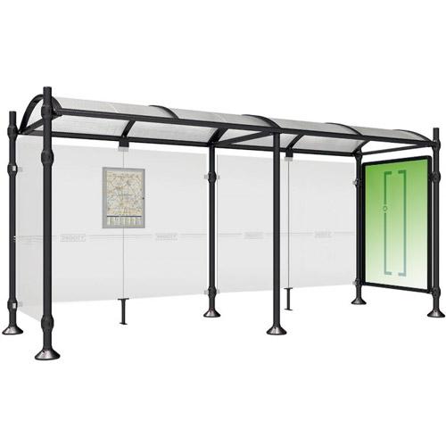 Marquesina STATION 500 cm con vitrina y 1 lateral