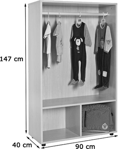 Mueble perchero abierto con barra detalle 1