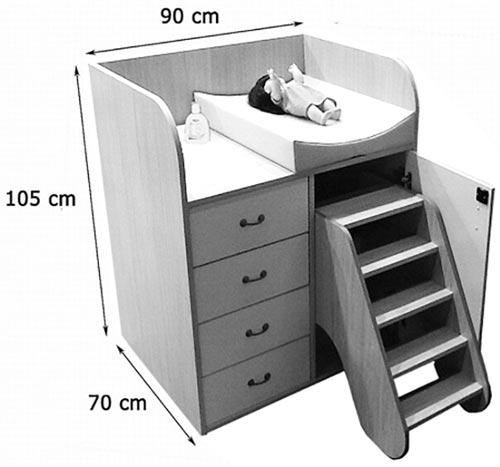 Cambiador con escalera y cajones detalle 3