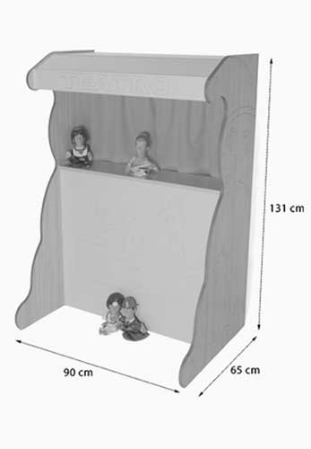 Teatro marionetas 131 cm madera detalle de las medidas