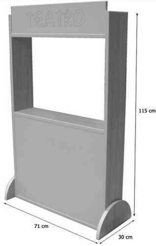 Teatro básico 115 cm madera detalle de las medidas