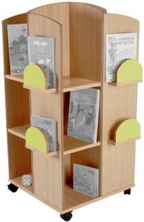 Torre cuadrada expositora de libros