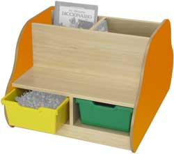 Banco-biblioteca infantil doble 4 plazas