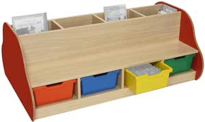 Banco-libreria infantil doble 8 plazas