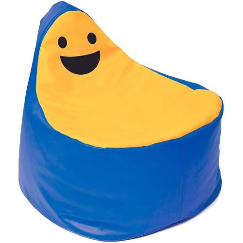 Puf smiley BanBag azul oscuro y naranja