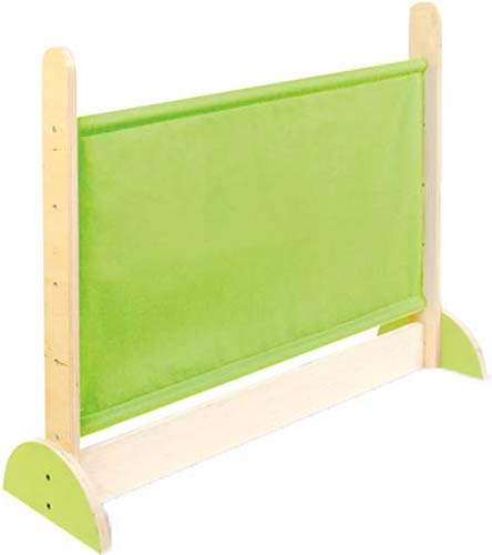 Pantalla separadora madera-tela verde