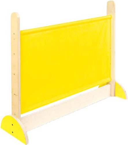 Pantalla separadora madera-tela amarilla